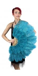 Aqua Blue Ostrich and Marabou Feather Fan