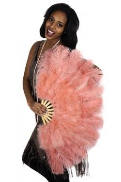 Apricot Blush Ostrich and Marabou Feather Fan Stripper Plus Clubwear Stripper Clothes, Exotic Dancewear, Sexy Club Wear, Extreme Platform Shoes