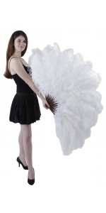 White Ostrich Feather Xtra Large Fan