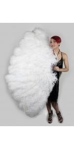 White Ostrich Feather Full Body Fan