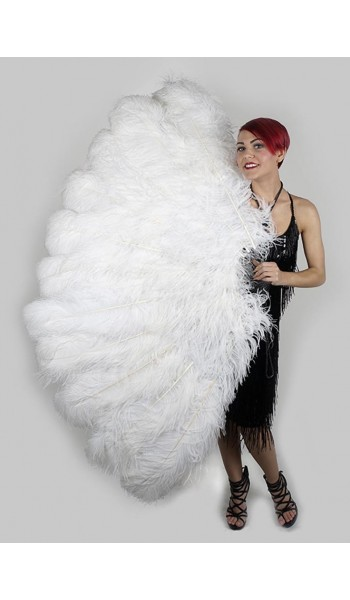 White Ostrich Feather Full Body Fan at Stripper Plus Clubwear, Stripper Clothes, Exotic Dancewear, Sexy Club Wear, Extreme Platform Shoes