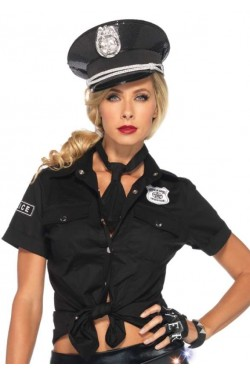 Police Woman Costume Shirt Stripper Plus Clubwear Stripper Clothes, Exotic Dancewear, Sexy Club Wear, Extreme Platform Shoes