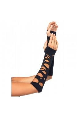 Black Shredded Arm Warmers Stripper Plus Clubwear Stripper Clothes, Exotic Dancewear, Sexy Club Wear, Extreme Platform Shoes