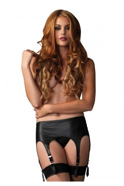 Black Rubber Look Garter Belt Stripper Plus Clubwear Stripper Clothes, Exotic Dancewear, Sexy Club Wear, Extreme Platform Shoes