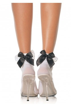 Bow and Lace Ruffle Trimmed Anklet Socks Stripper Plus Clubwear Stripper Clothes, Exotic Dancewear, Sexy Club Wear, Extreme Platform Shoes