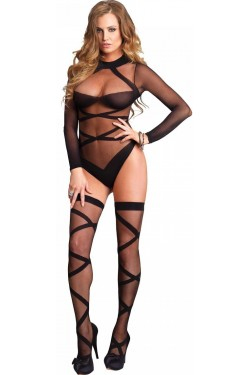 Cross Strap Teddy and Stockings Set Stripper Plus Clubwear Stripper Clothes, Exotic Dancewear, Sexy Club Wear, Extreme Platform Shoes