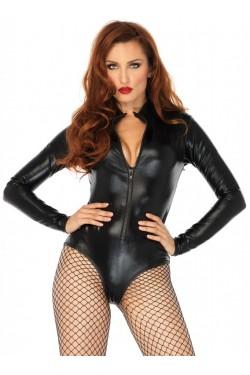 Black Wet Look High Neck Bodysuit Stripper Plus Clubwear Stripper Clothes, Exotic Dancewear, Sexy Club Wear, Extreme Platform Shoes