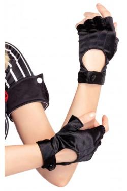 Fingerless Black Snap Satin Gloves Stripper Plus Clubwear Stripper Clothes, Exotic Dancewear, Sexy Club Wear, Extreme Platform Shoes