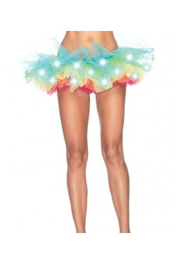 LED Light Up Rainbow Neon Tutu Petticoat Stripper Plus Clubwear Stripper Clothes, Exotic Dancewear, Sexy Club Wear, Extreme Platform Shoes