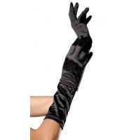 Black Satin Elbow Length Gloves