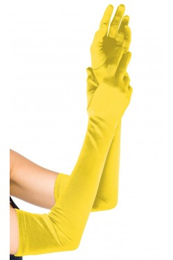 Yellow Satin Extra Long Opera Gloves Stripper Plus Clubwear Stripper Clothes, Exotic Dancewear, Sexy Club Wear, Extreme Platform Shoes