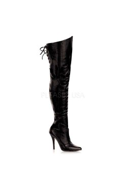 Legend Black Lace up Back Leather Thigh High Boot Stripper Plus Clubwear Stripper Clothes, Exotic Dancewear, Sexy Club Wear, Extreme Platform Shoes