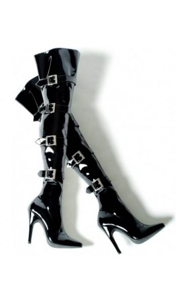 Buckle Up Black Thigh High 5 Inch Heel Boot at Stripper Plus Clubwear, Stripper Clothes, Exotic Dancewear, Sexy Club Wear, Extreme Platform Shoes