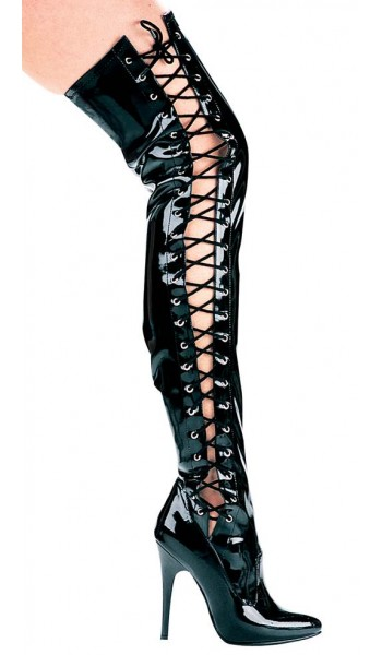 Ferocious Side Lacing Thigh High 5 Inch Heel Boot at Stripper Plus Clubwear, Stripper Clothes, Exotic Dancewear, Sexy Club Wear, Extreme Platform Shoes