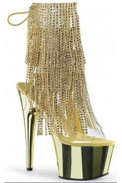 Gold Rhinestone Fringe Platform Ankle Boot Stripper Plus Clubwear Stripper Clothes, Exotic Dancewear, Sexy Club Wear, Extreme Platform Shoes