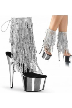 Silver Rhinestone Fringe Platform Ankle Boot Stripper Plus Clubwear Stripper Clothes, Exotic Dancewear, Sexy Club Wear, Extreme Platform Shoes