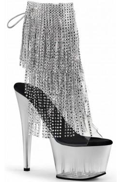 Silver Rhinestone Fringe 7 Inch Heel Ankle Boot Stripper Plus Clubwear Stripper Clothes, Exotic Dancewear, Sexy Club Wear, Extreme Platform Shoes