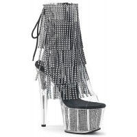 Rhinestone Fringed Black and Silver 7 Inch Heel Ankle Boot