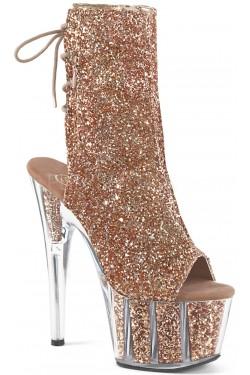 Rose Gold Glittered Platform Ankle Boot Stripper Plus Clubwear Stripper Clothes, Exotic Dancewear, Sexy Club Wear, Extreme Platform Shoes