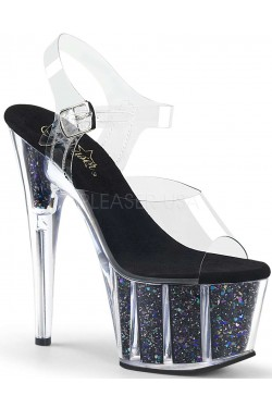 Black Confetti Filled Clear Platform Adore Sandals Stripper Plus Clubwear Stripper Clothes, Exotic Dancewear, Sexy Club Wear, Extreme Platform Shoes