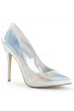 Amuse Silver Hologram 5 Inch High Heel Pump Stripper Plus Clubwear Stripper Clothes, Exotic Dancewear, Sexy Club Wear, Extreme Platform Shoes