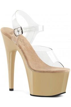 Cream Platform Clear Strap Platform Sandal Stripper Plus Clubwear Stripper Clothes, Exotic Dancewear, Sexy Club Wear, Extreme Platform Shoes