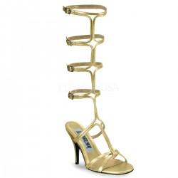 Roman Gold Gladiator Mule Sandal Stripper Plus Clubwear Stripper Clothes, High Heels, Dance Costumes, Sexy Club Wear