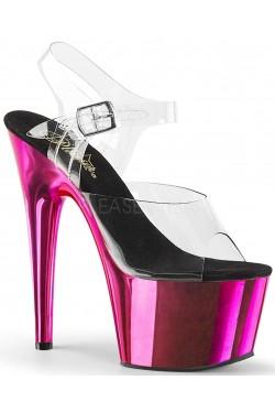 Hot Pink Chrome Platform Clear Strap Platform Sandal Stripper Plus Clubwear Stripper Clothes, Exotic Dancewear, Sexy Club Wear, Extreme Platform Shoes