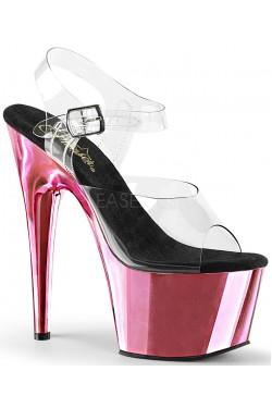 Pink Chrome Platform Clear Strap Platform Sandal Stripper Plus Clubwear Stripper Clothes, Exotic Dancewear, Sexy Club Wear, Extreme Platform Shoes