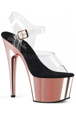 Rose Gold Chrome Platform Clear Strap Platform Sandal Stripper Plus Clubwear Stripper Clothes, Exotic Dancewear, Sexy Club Wear, Extreme Platform Shoes