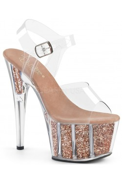 Rose Gold Glitter Filled Clear Platform Adore Sandals Stripper Plus Clubwear Stripper Clothes, Exotic Dancewear, Sexy Club Wear, Extreme Platform Shoes