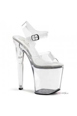 Clear Xtreme 8 Inch High Platform Sandal Stripper Plus Clubwear Stripper Clothes, Exotic Dancewear, Sexy Club Wear, Extreme Platform Shoes