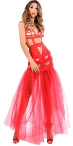 Fantasy Mermaid Red Cage Strap Gown