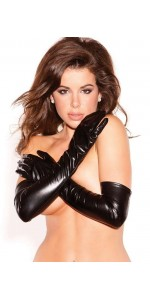 Wet Look Lycra Opera Gloves