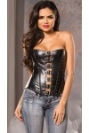 Buckled Front Faux Leather Corset at Stripper Plus Clubwear, Stripper Clothes, Exotic Dancewear, Sexy Club Wear, Extreme Platform Shoes