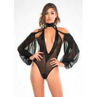Heavenly Body Drop Sleeve Black Bodysuit