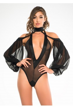 Heavenly Body Drop Sleeve Black Bodysuit Stripper Plus Clubwear Stripper Clothes, Exotic Dancewear, Sexy Club Wear, Extreme Platform Shoes
