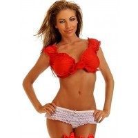 Tie Front Red Peasant Crop Top