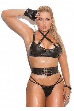 Leather 3 Piece Fetish Bra Set Stripper Plus Clubwear Stripper Clothes, Exotic Dancewear, Sexy Club Wear, Extreme Platform Shoes