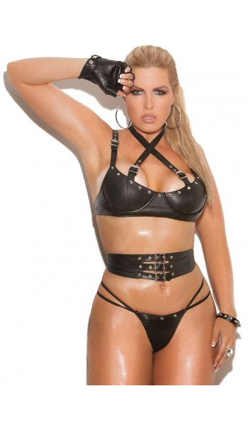 Leather 3 Piece Fetish Bra Set at Stripper Plus Clubwear, Stripper Clothes, Exotic Dancewear, Sexy Club Wear, Extreme Platform Shoes