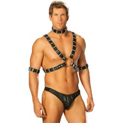 Mens Adjustable 4 Piece Leather Harness Stripper Plus Clubwear Stripper Clothes, High Heels, Dance Costumes, Sexy Club Wear