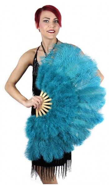 Aqua Blue Ostrich and Marabou Feather Fan at Stripper Plus Clubwear, Stripper Clothes, Exotic Dancewear, Sexy Club Wear, Extreme Platform Shoes