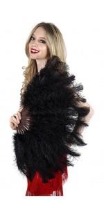 Black Ostrich Floss Feather Large Fan