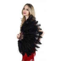 Black Ostrich Floss Feather Large Fan
