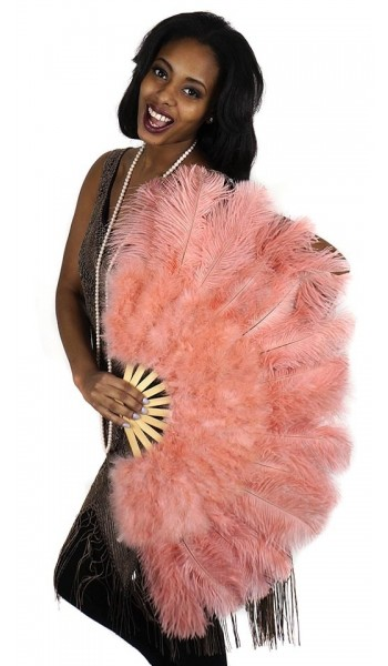 Apricot Blush Ostrich and Marabou Feather Fan at Stripper Plus Clubwear, Stripper Clothes, Exotic Dancewear, Sexy Club Wear, Extreme Platform Shoes