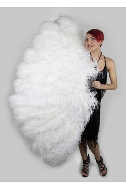 White Ostrich Feather Full Body Fan Stripper Plus Clubwear Stripper Clothes, Exotic Dancewear, Sexy Club Wear, Extreme Platform Shoes