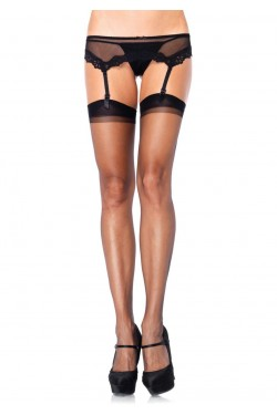 Black Spandex Ultra Sheer Garter Stockings - Pack of 3