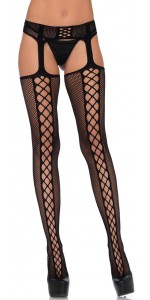 Dual Net Faux Lace Up Backseam Suspender Stockings