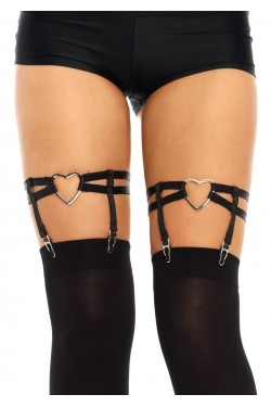 Black Heart Leg Garters Stripper Plus Clubwear Stripper Clothes, Exotic Dancewear, Sexy Club Wear, Extreme Platform Shoes