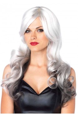 Allure Gray Wig with Black Tips Stripper Plus Clubwear Stripper Clothes, Exotic Dancewear, Sexy Club Wear, Extreme Platform Shoes